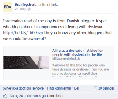Bda dyslexia, Interesting blog Jesper