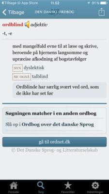 Den danske ordbog app ordblind