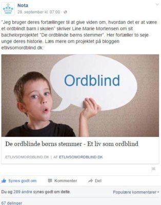 De ordblinde børns stemmer på Facebook
