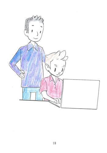 Tegning fra Ordblindebogen af en ordblind - side 18