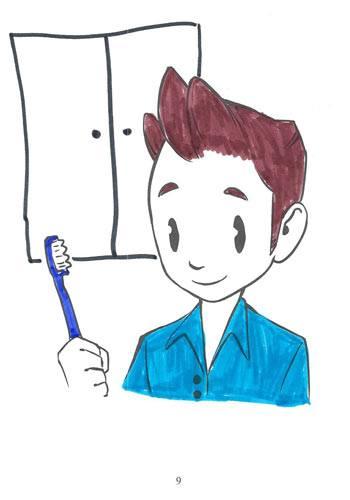 Tegning fra Ordblindebogen af en ordblind - side 9